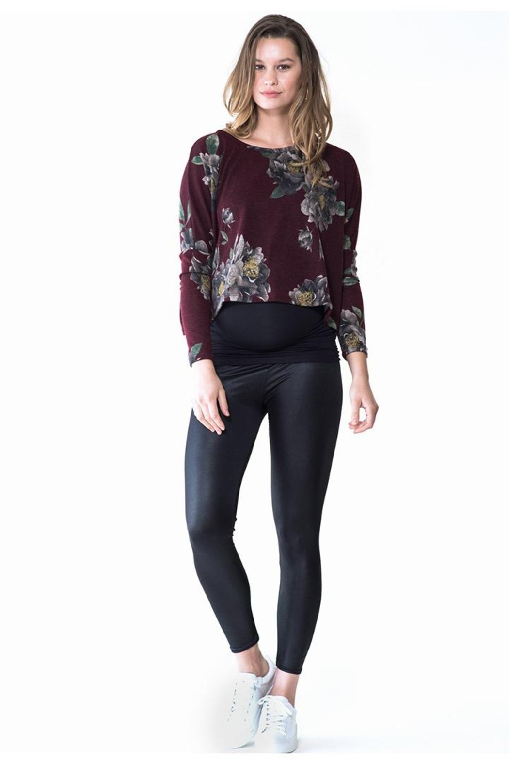 Audrey 3+1 Burgundy Floral Cropped Sweater - Main Image
