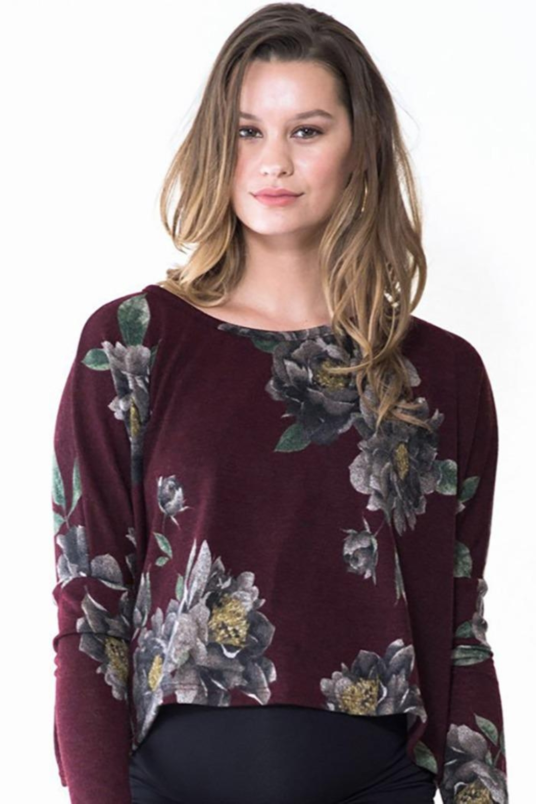 Audrey 3+1 Burgundy Floral Cropped Sweater - Side Cropped Image