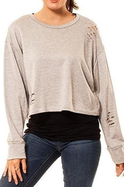 Audrey 3+1 Cropped Distressed Sweatshirt - Product Mini Image