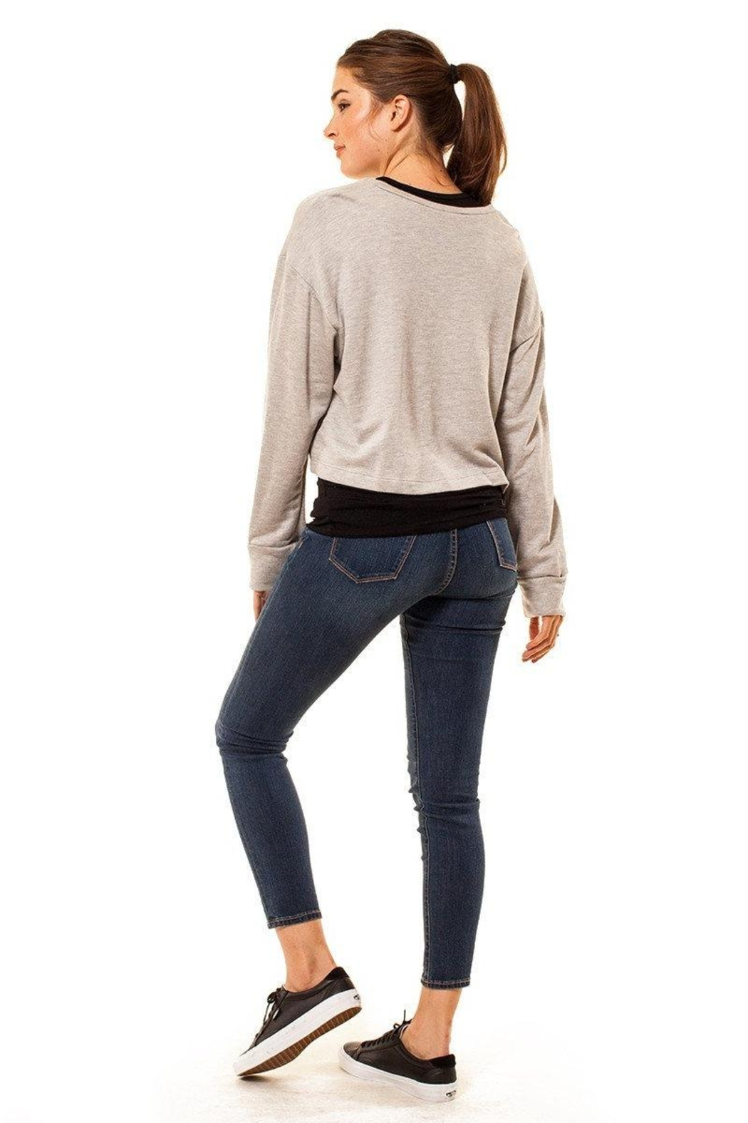 Audrey 3+1 Cropped Distressed Sweatshirt - Front Full Image