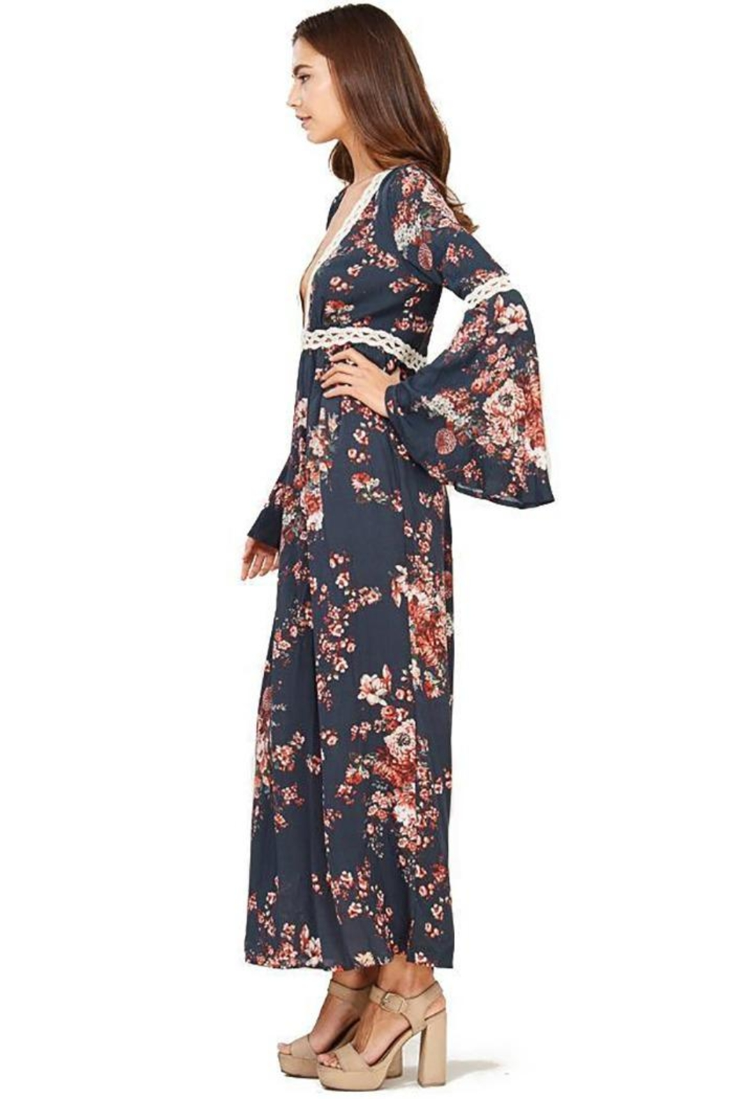 Audrey 3+1 Floral Bell Sleeve Maxi Dress - Front Full Image