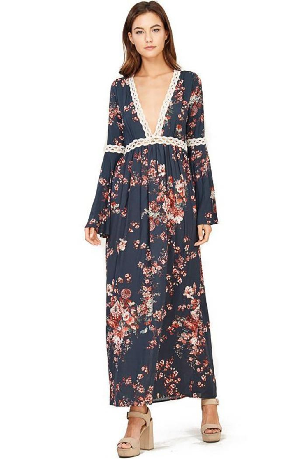 Audrey 3+1 Floral Bell Sleeve Maxi Dress - Front Cropped Image