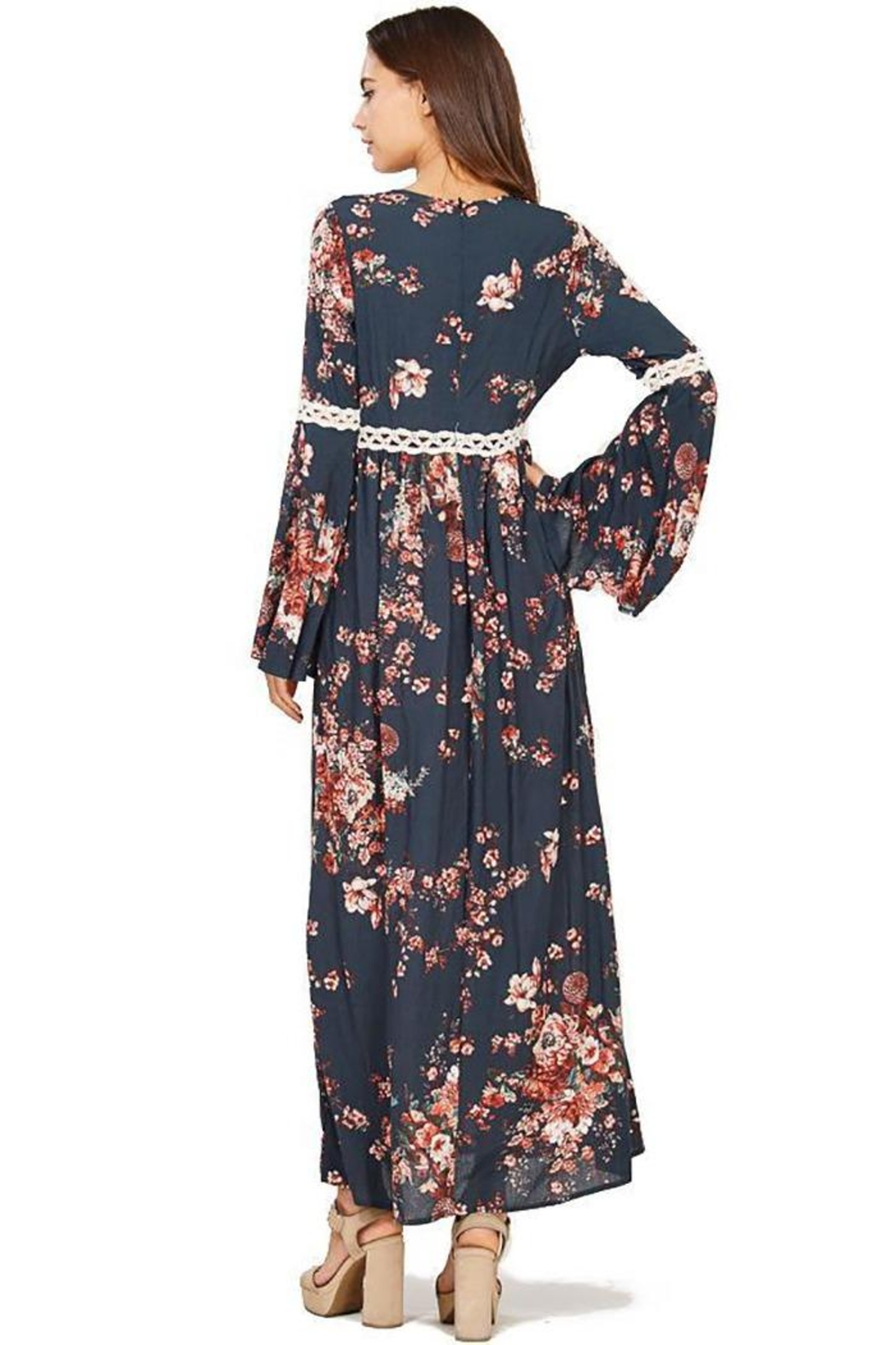 Audrey 3+1 Floral Bell Sleeve Maxi Dress - Side Cropped Image