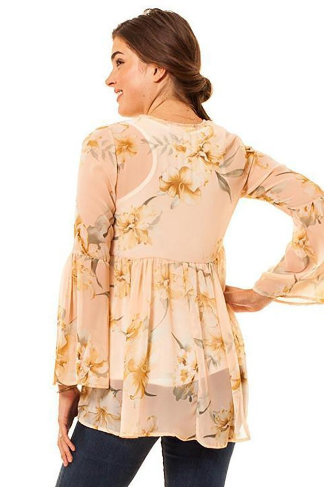 Audrey 3+1 Floral Chiffon Bell Sleeve Top - Side Cropped Image