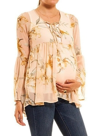 Audrey 3+1 Floral Chiffon Bell Sleeve Top - Front full body
