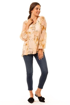 Audrey 3+1 Floral Chiffon Bell Sleeve Top - Product List Image