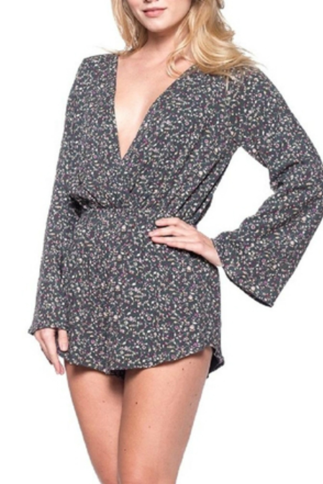 Audrey 3+1 Ditsy Floral Wrap Romper - Side Cropped Image