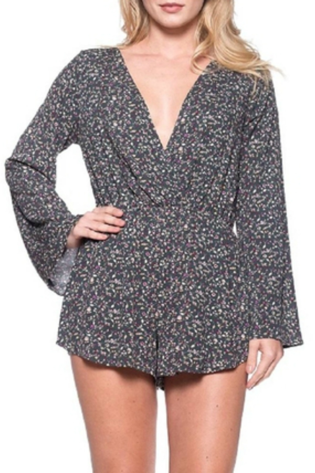 Audrey 3+1 Ditsy Floral Wrap Romper - Front Full Image