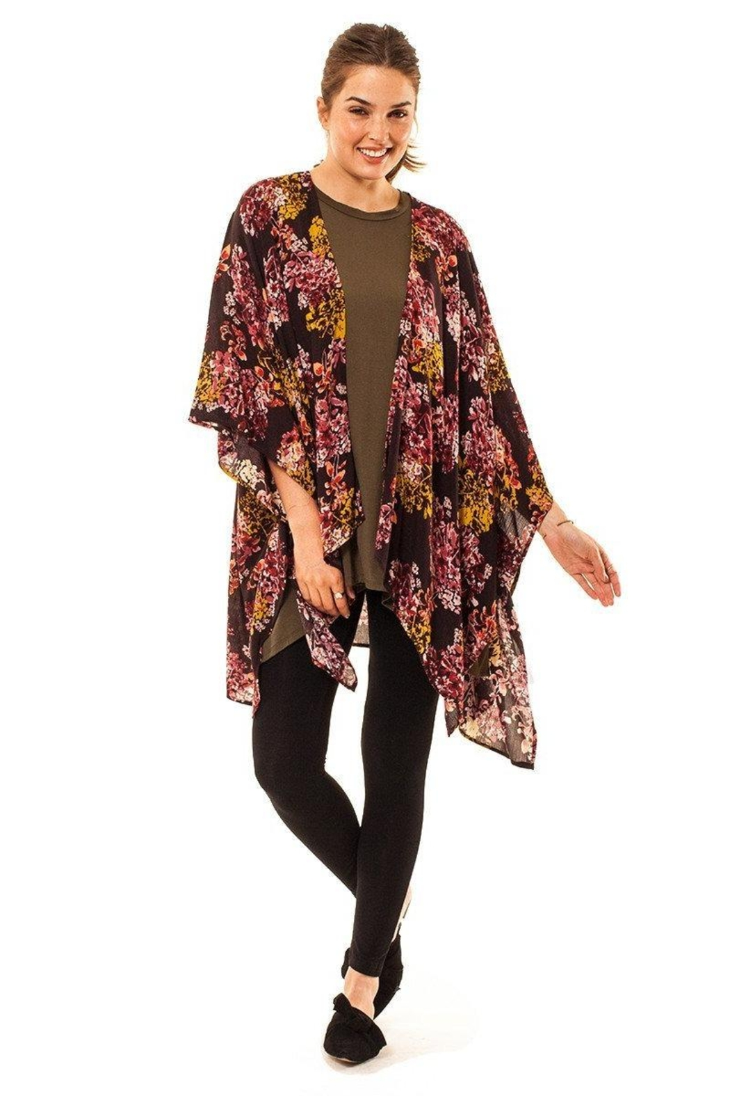 Audrey 3+1 Kyra Floral Kimono - Front Cropped Image