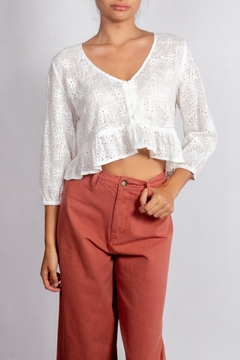 Audrey 3+1 Linen Eyelet Ruffle-Top - Product List Image