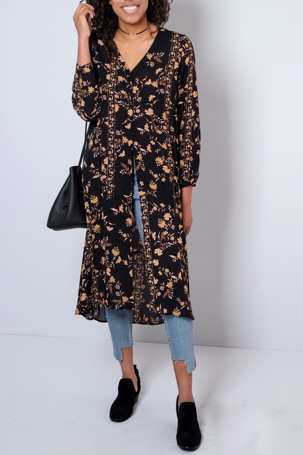 Audrey 3+1 Long Floral Shirt - Back Cropped Image