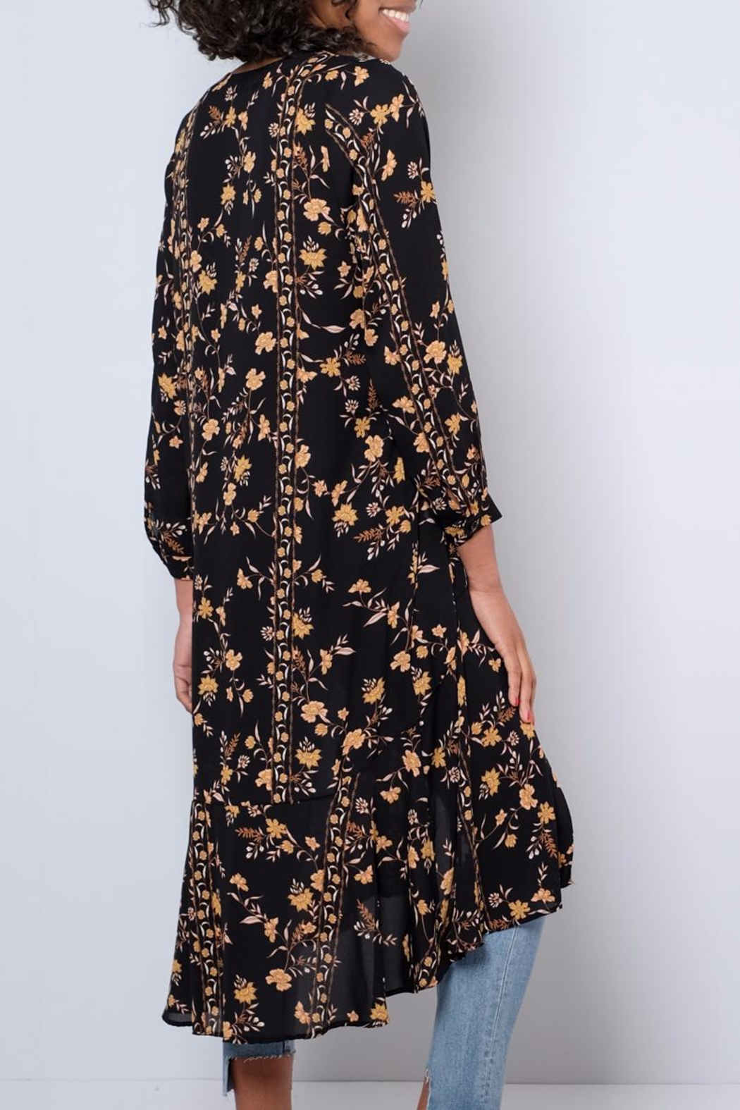 Audrey 3+1 Long Floral Shirt - Side Cropped Image