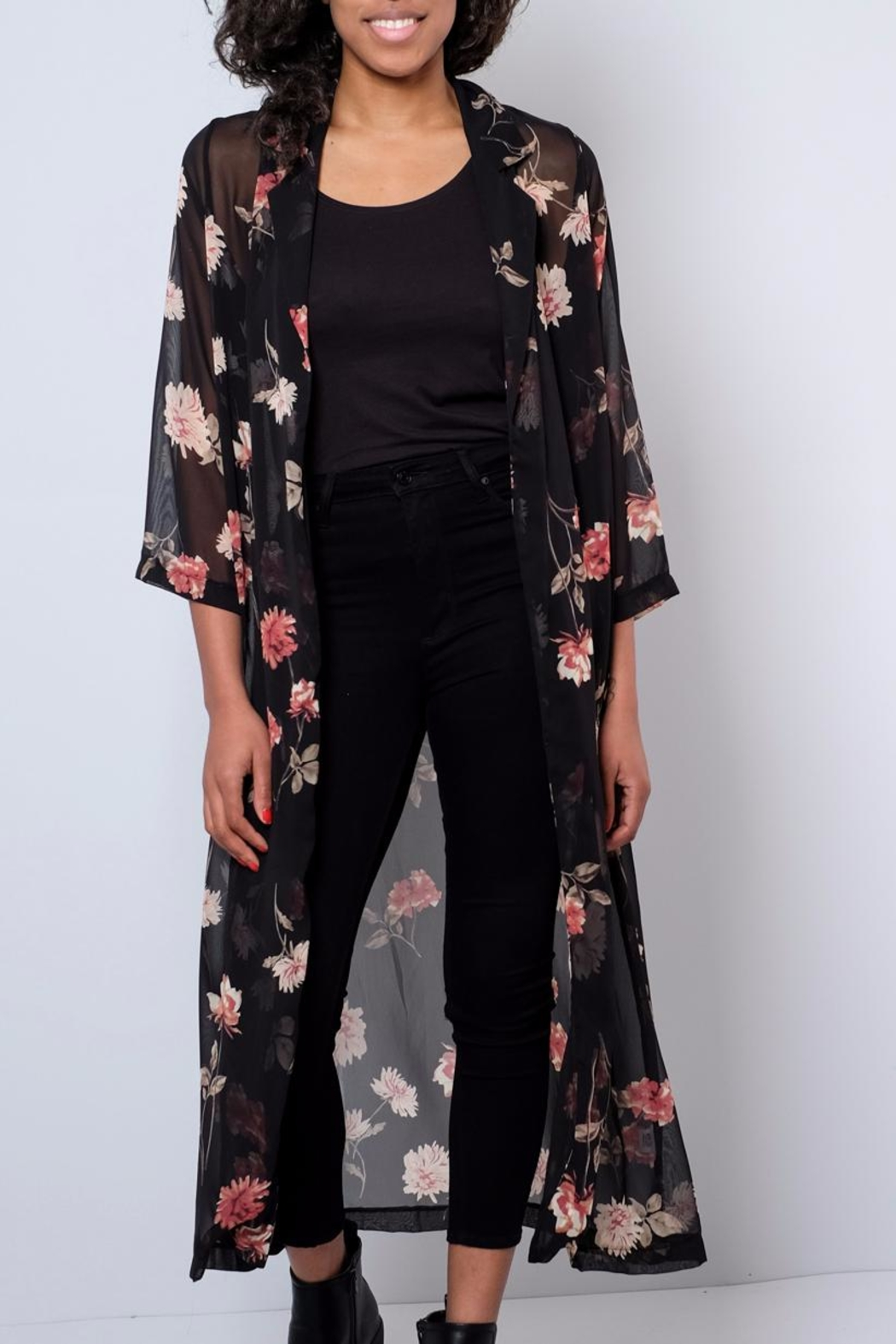 Audrey 3+1 Sheer Floral Duster - Main Image