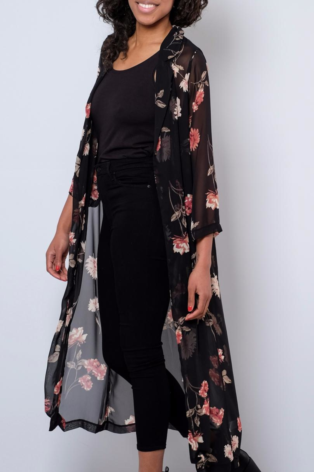 Audrey 3+1 Sheer Floral Duster - Front Full Image