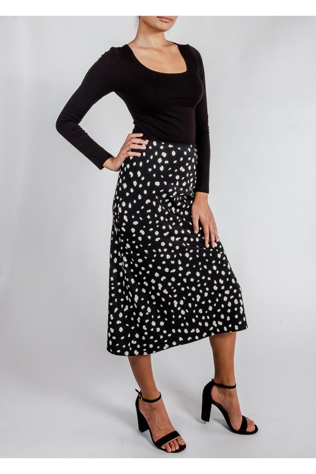 Audrey 3+1 Spots Slip Skirt - Side Cropped Image