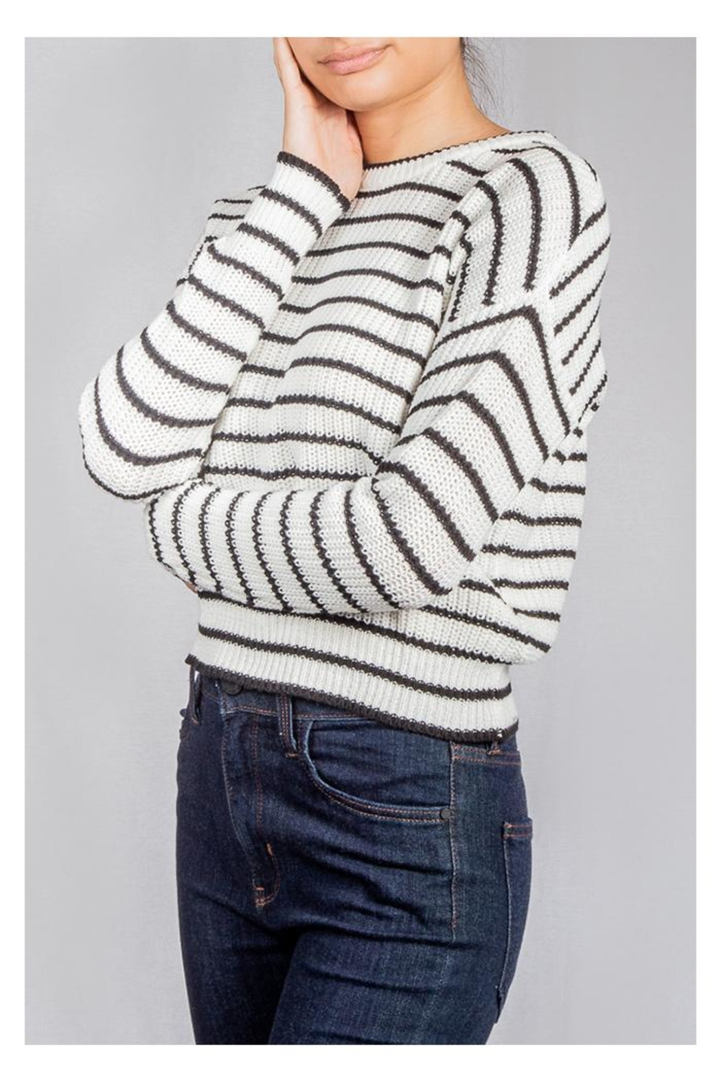 Audrey 3+1 Striped Knit Sweater - Front Full Image