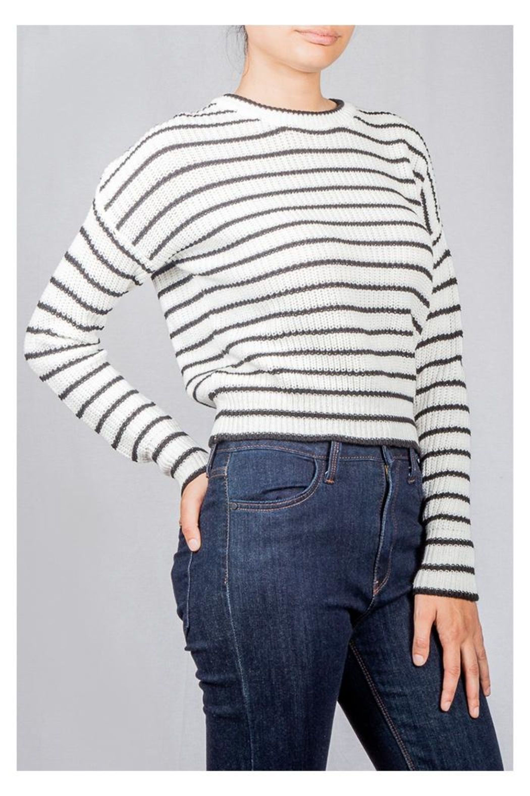 Audrey 3+1 Striped Knit Sweater - Side Cropped Image