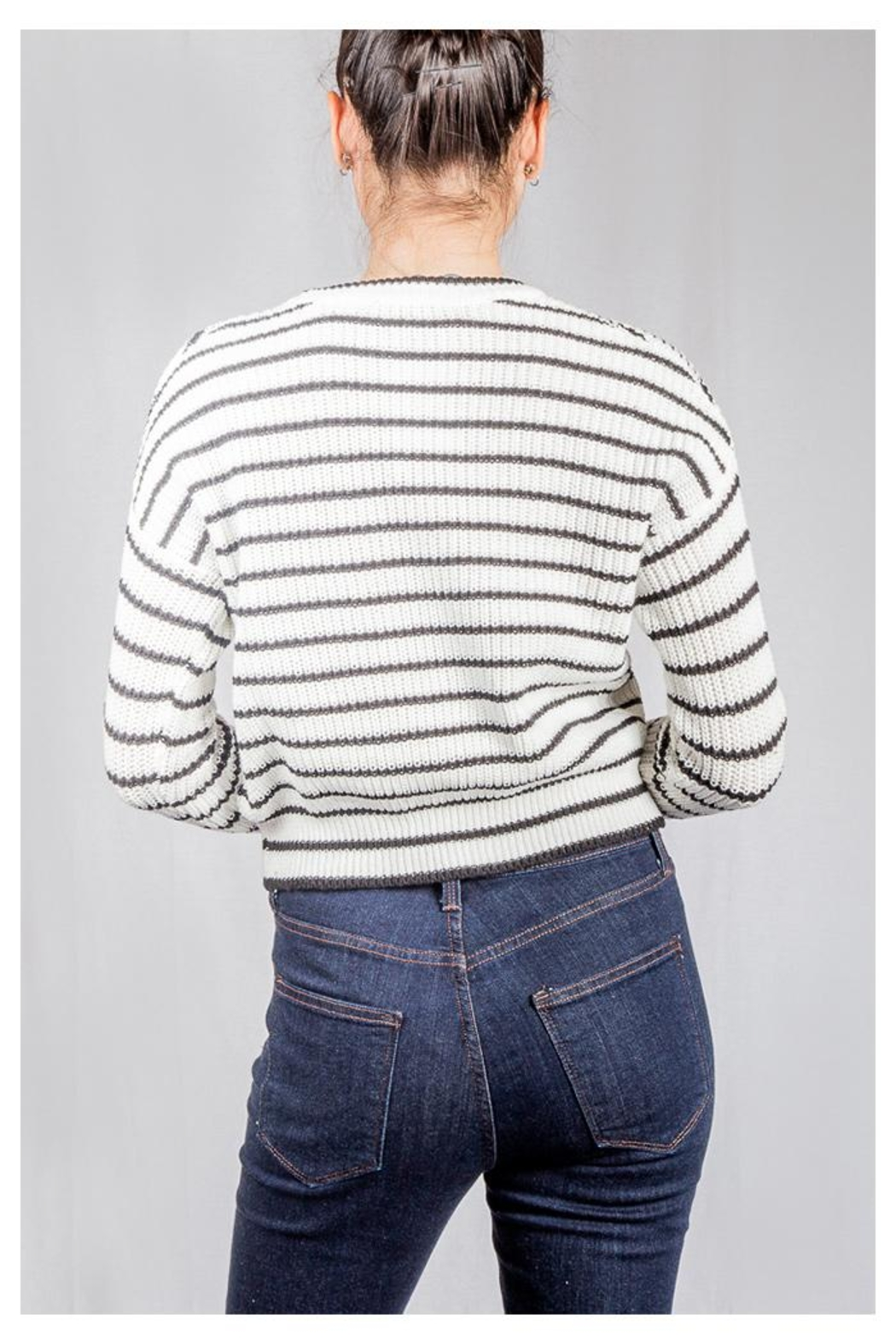 Audrey 3+1 Striped Knit Sweater - Back Cropped Image