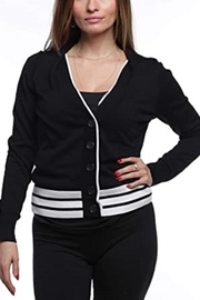 August Silk Women's Stripe Bottom V-Neck Cardigan - Product Mini Image