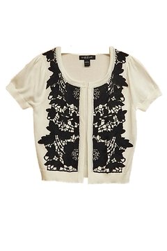 August Silk Black-Lace White Sweater - Product List Image