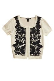 August Silk Black-Lace White Sweater - Front cropped