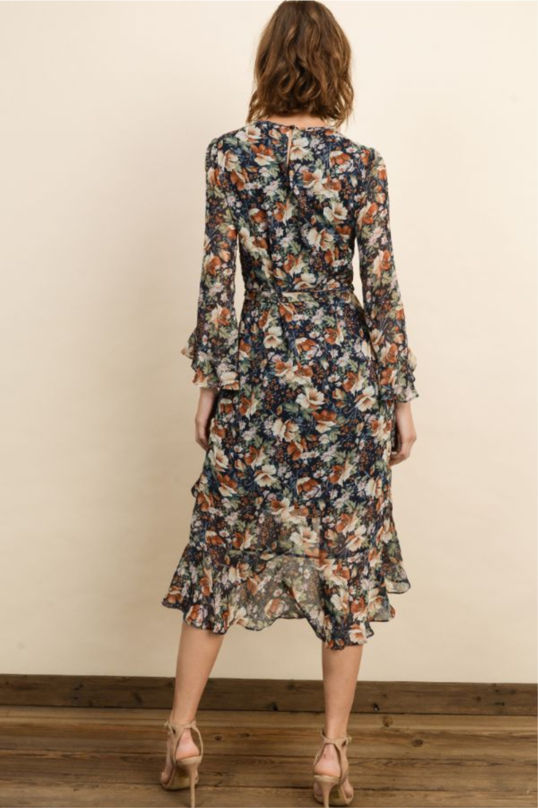 dress forum Autumn Floral Ruffle Dress - Side Cropped Image