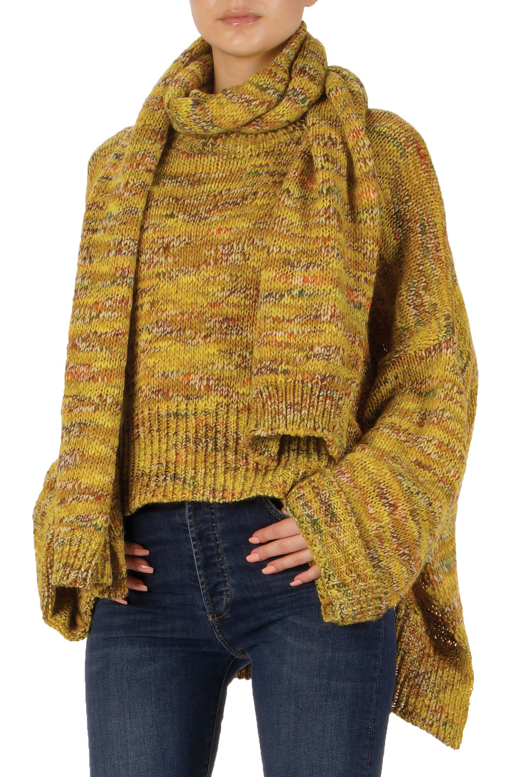 Elan Autumn Leaves Sweater and Scarf Set - Front Full Image