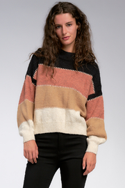 Elan  Autumn Stripe Crop Sweater - Product Mini Image