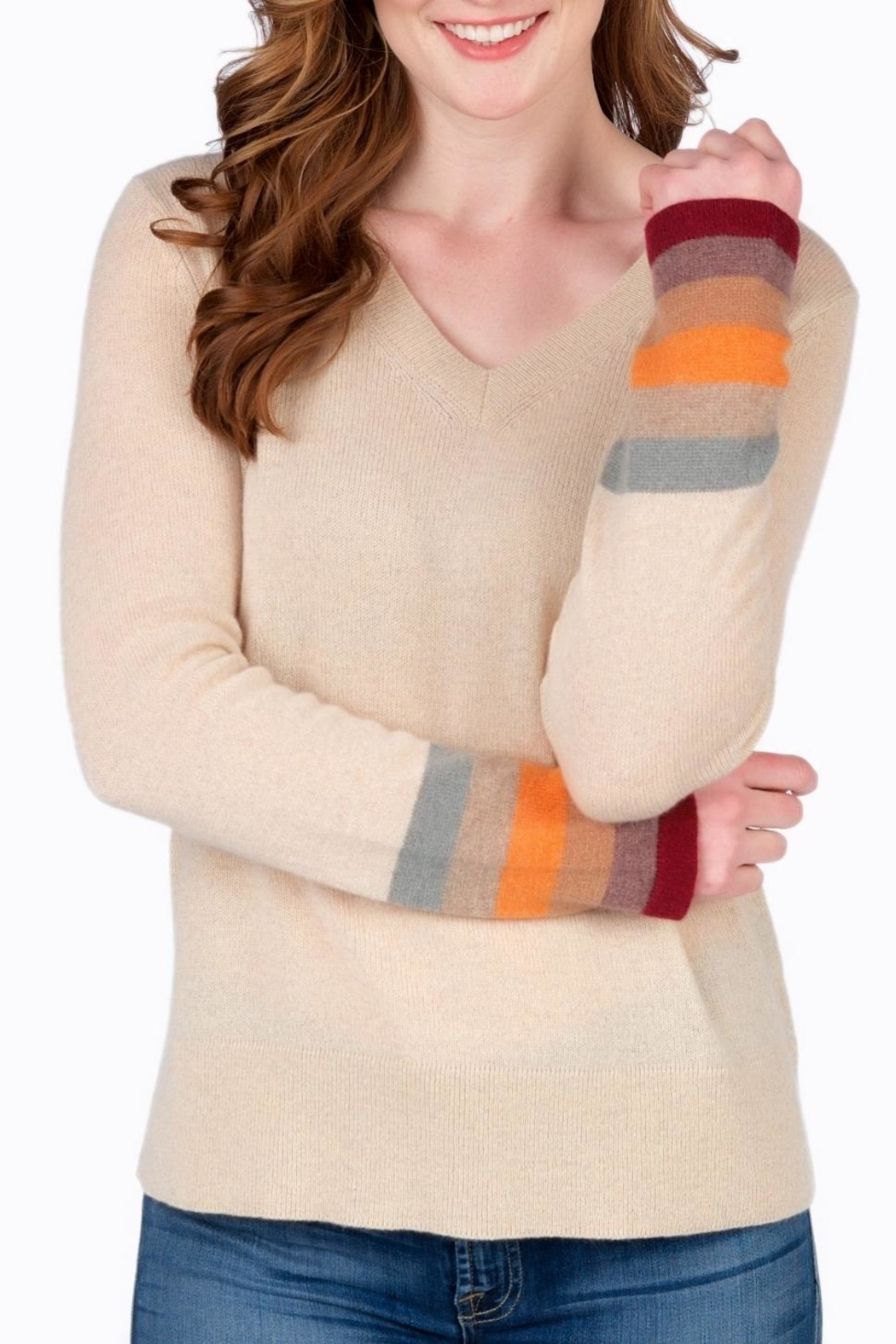 Claudia nichole Autumn Stripe Sweater - Front Cropped Image