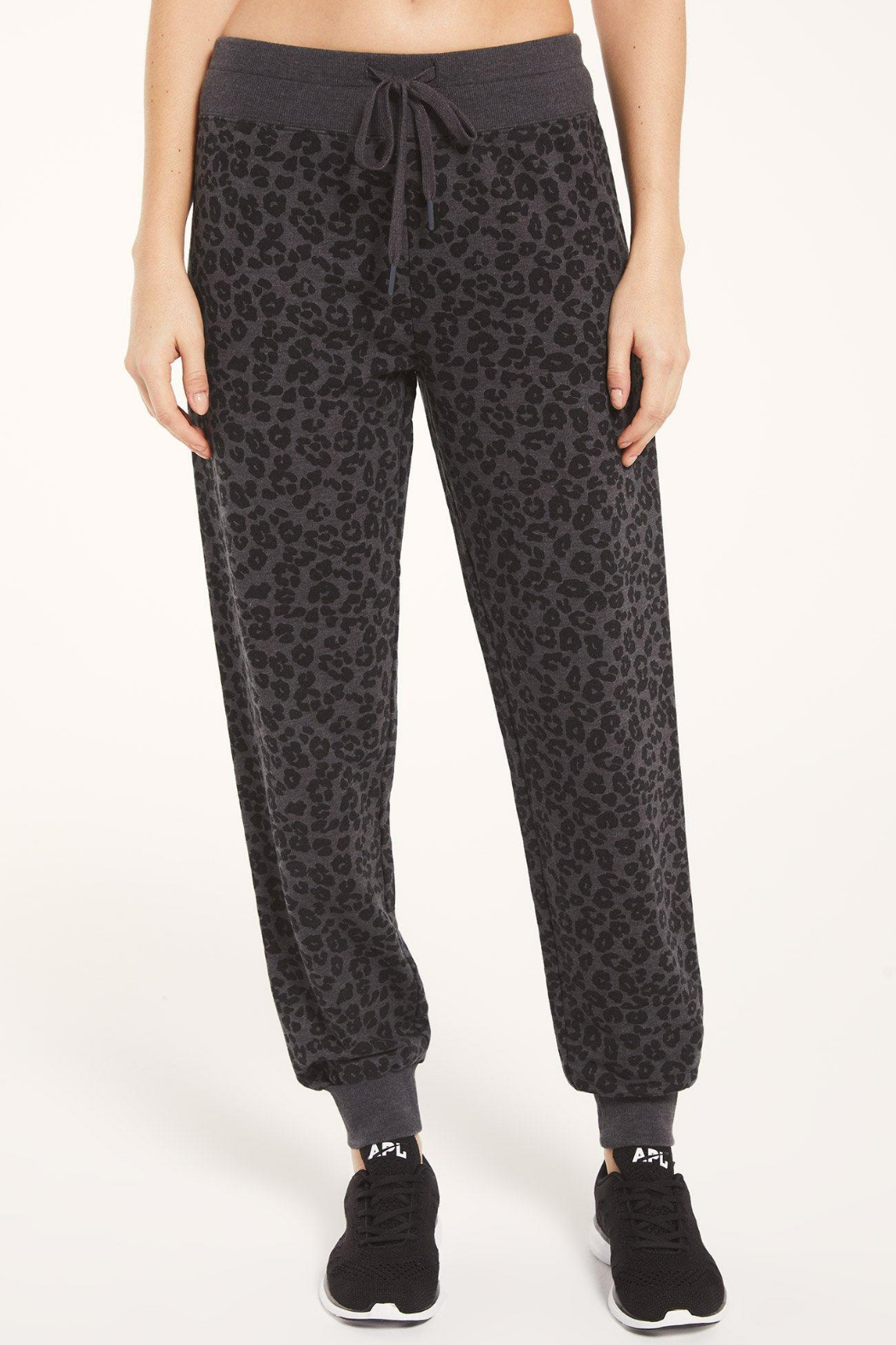 z supply Ava Leopard Jogger - Front Cropped Image