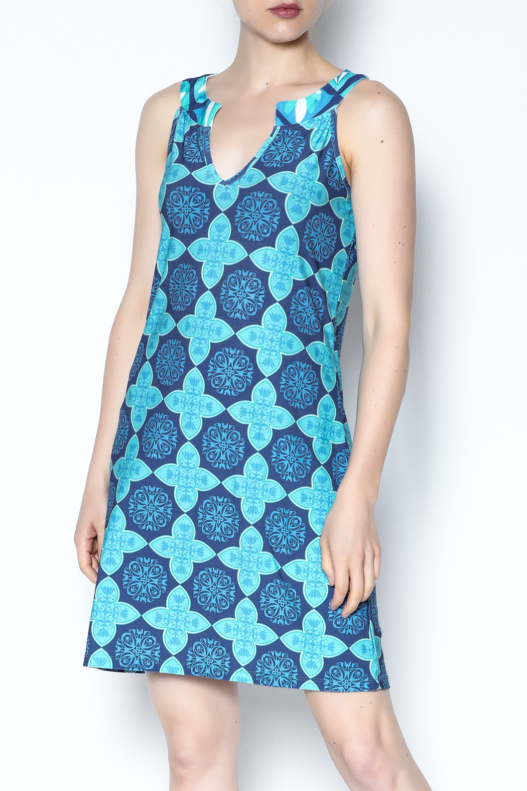 Ava Lynn Blue Mariah Dress - Front Cropped Image