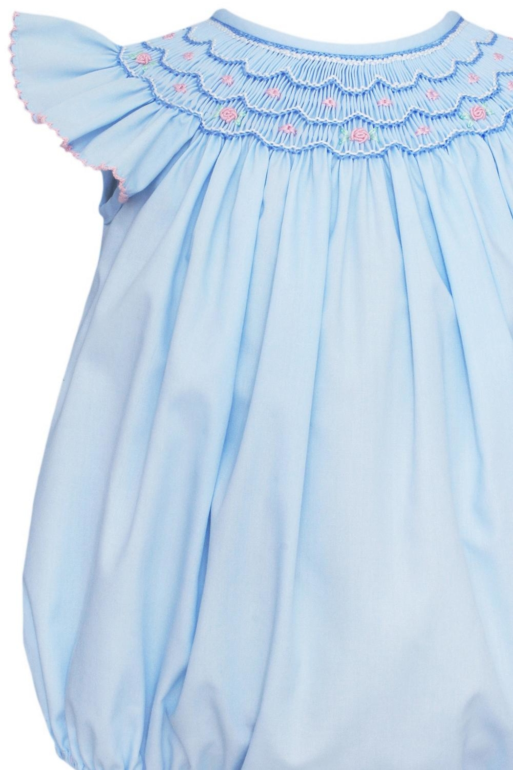 Petit Bebe Ava-Smocked Angel-Wing Bishop-Bubble - Front Full Image
