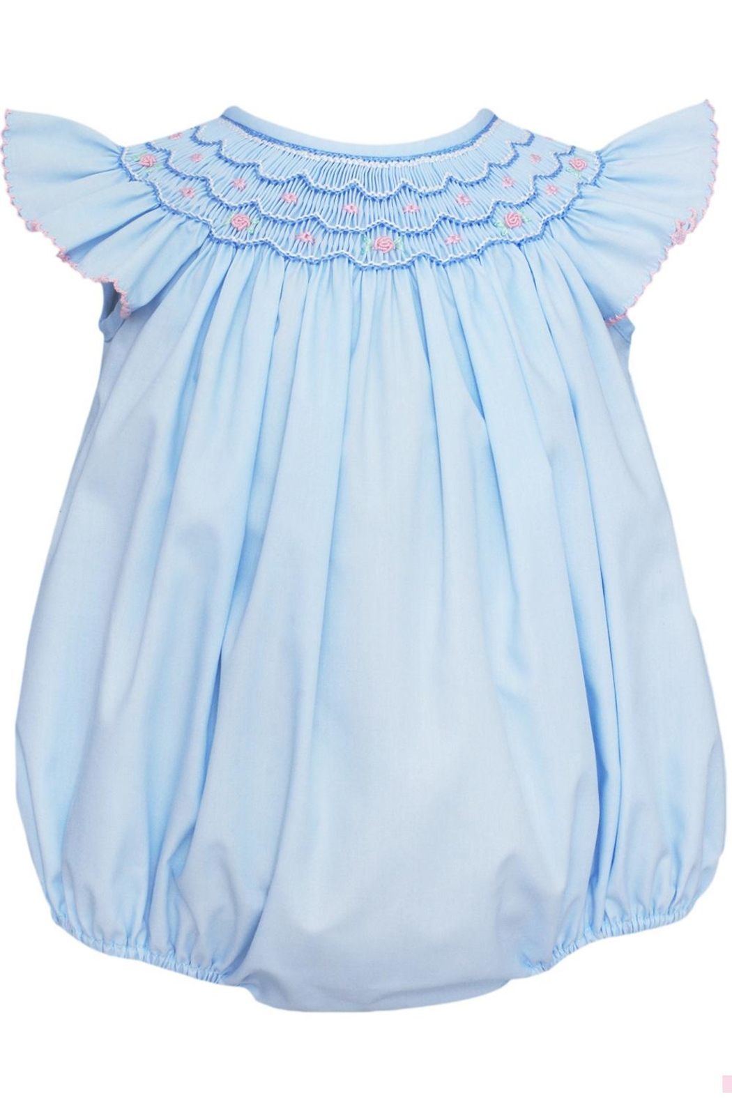 Petit Bebe Ava-Smocked Angel-Wing Bishop-Bubble - Front Cropped Image