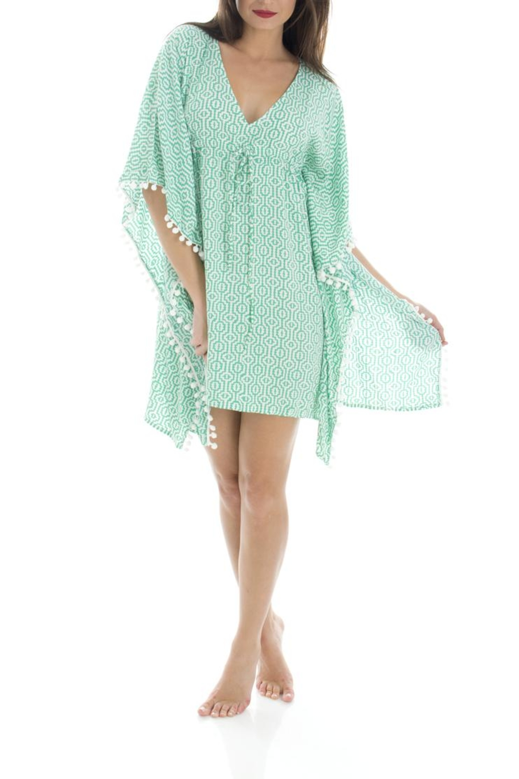 Ava Sky Green Interlock Tunic - Front Cropped Image