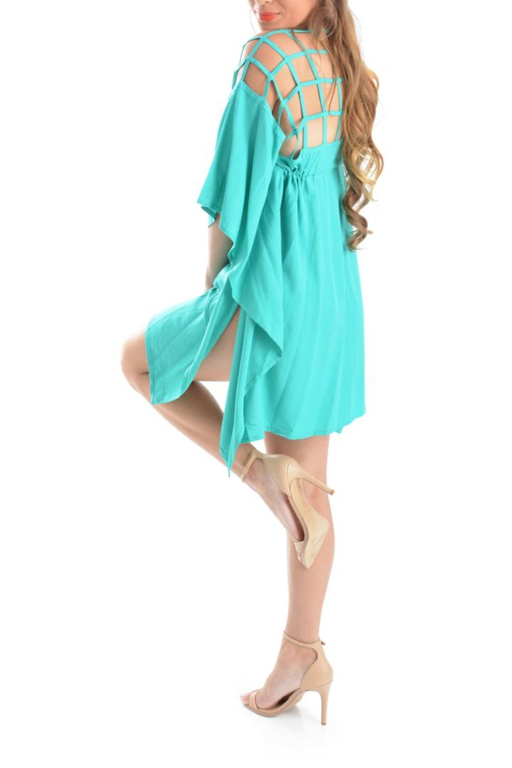 Ava Sky Olgie Caged Tunic - Front Cropped Image