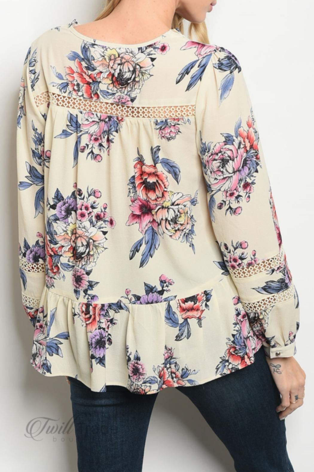 Available Cream Floral Top - Front Full Image