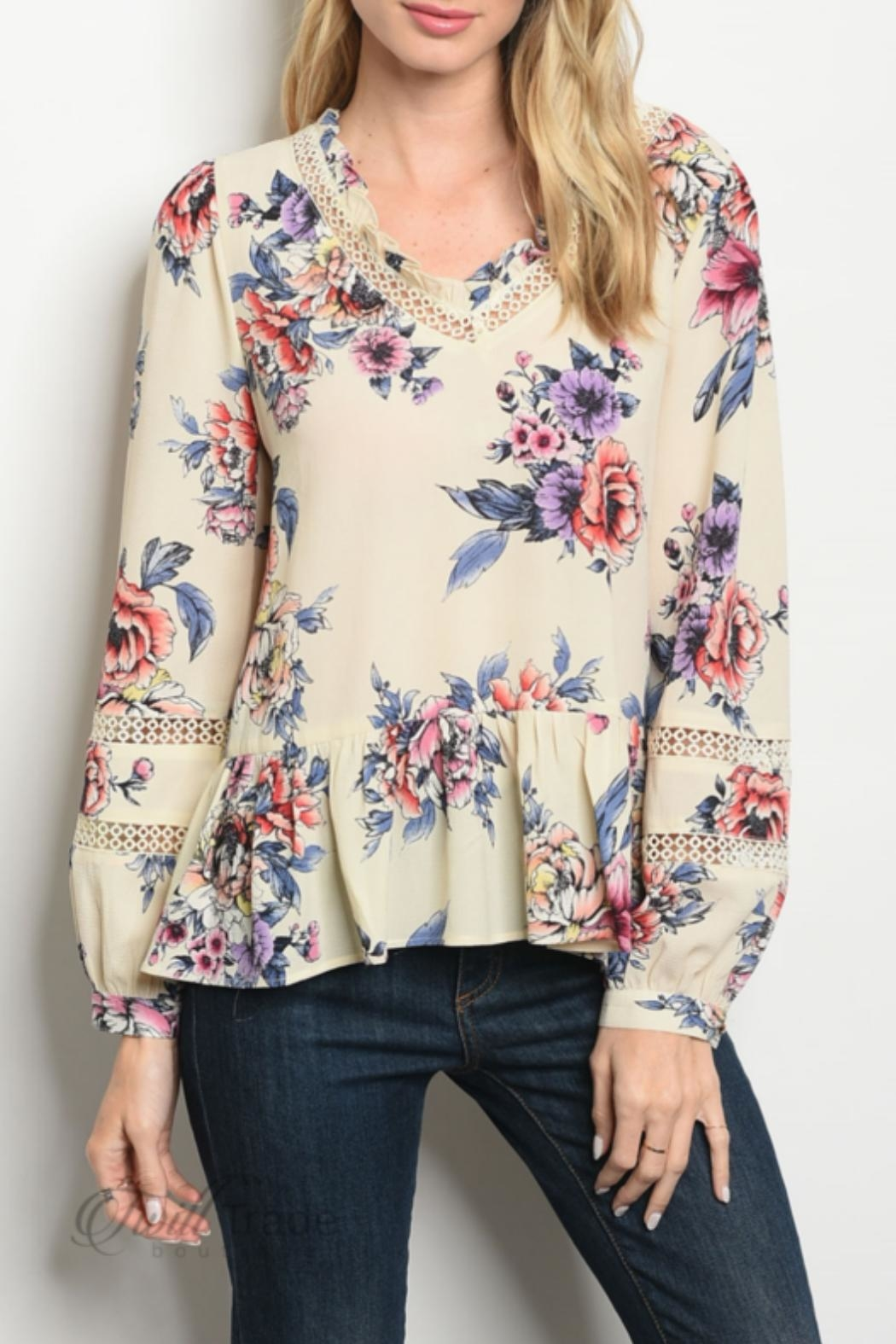 Available Cream Floral Top - Main Image