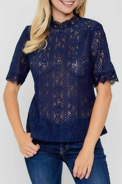 Available Lace High-Neck Blouse - Alternate List Image