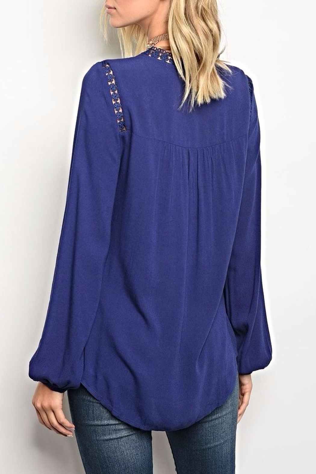 Available Navy Detail Blouse - Front Full Image