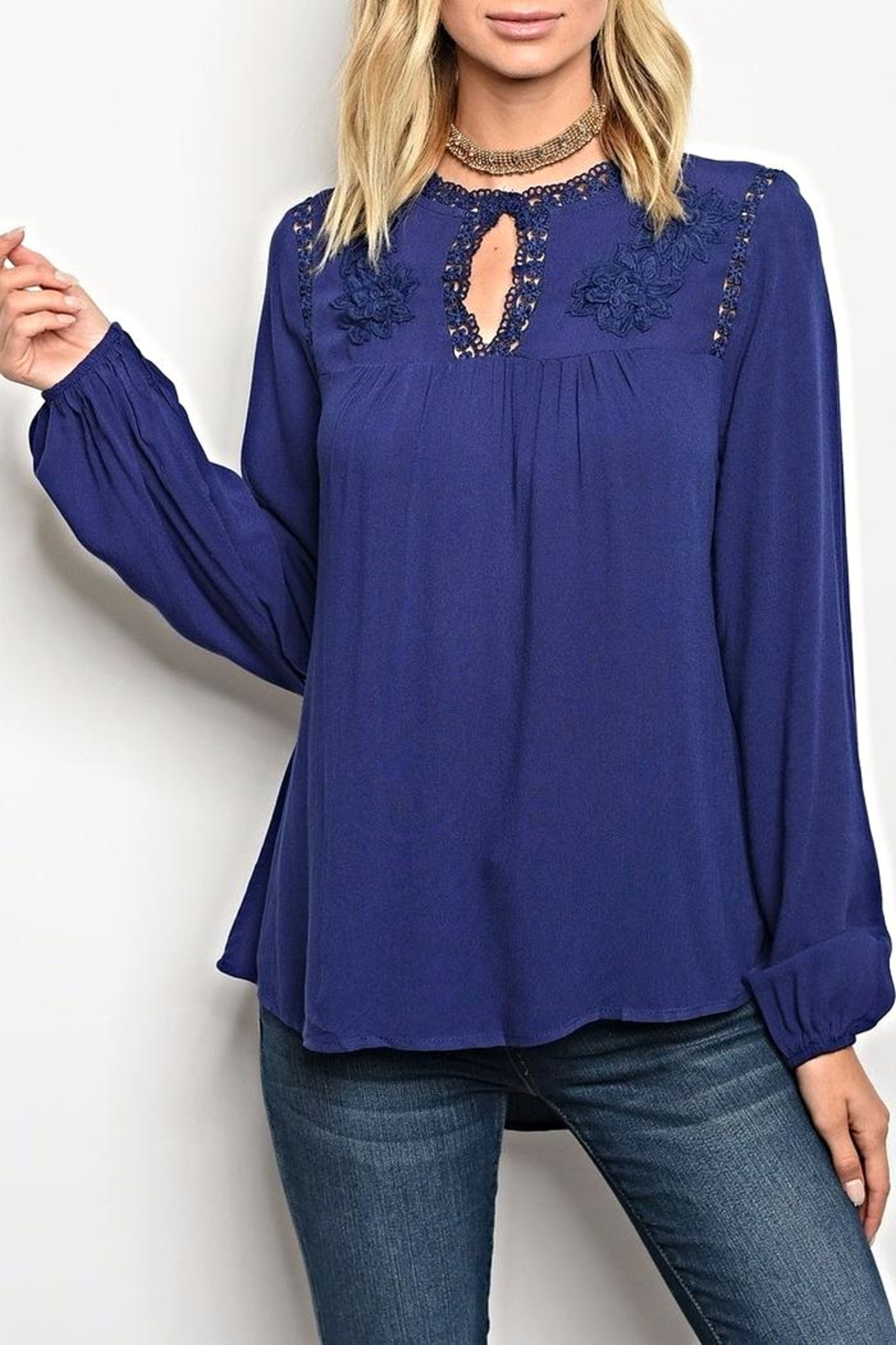 Available Navy Detail Blouse - Main Image