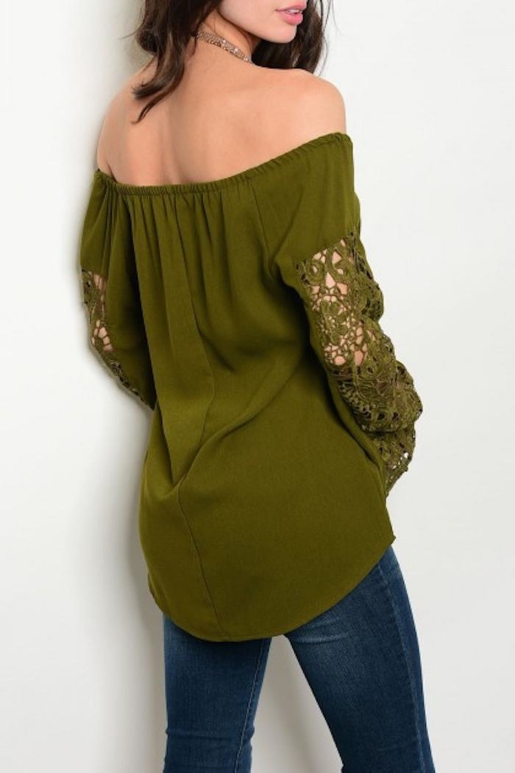 Available Olive Crochet Top - Front Full Image
