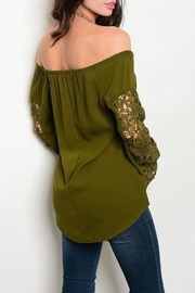 Available Olive Crochet Top - Front full body