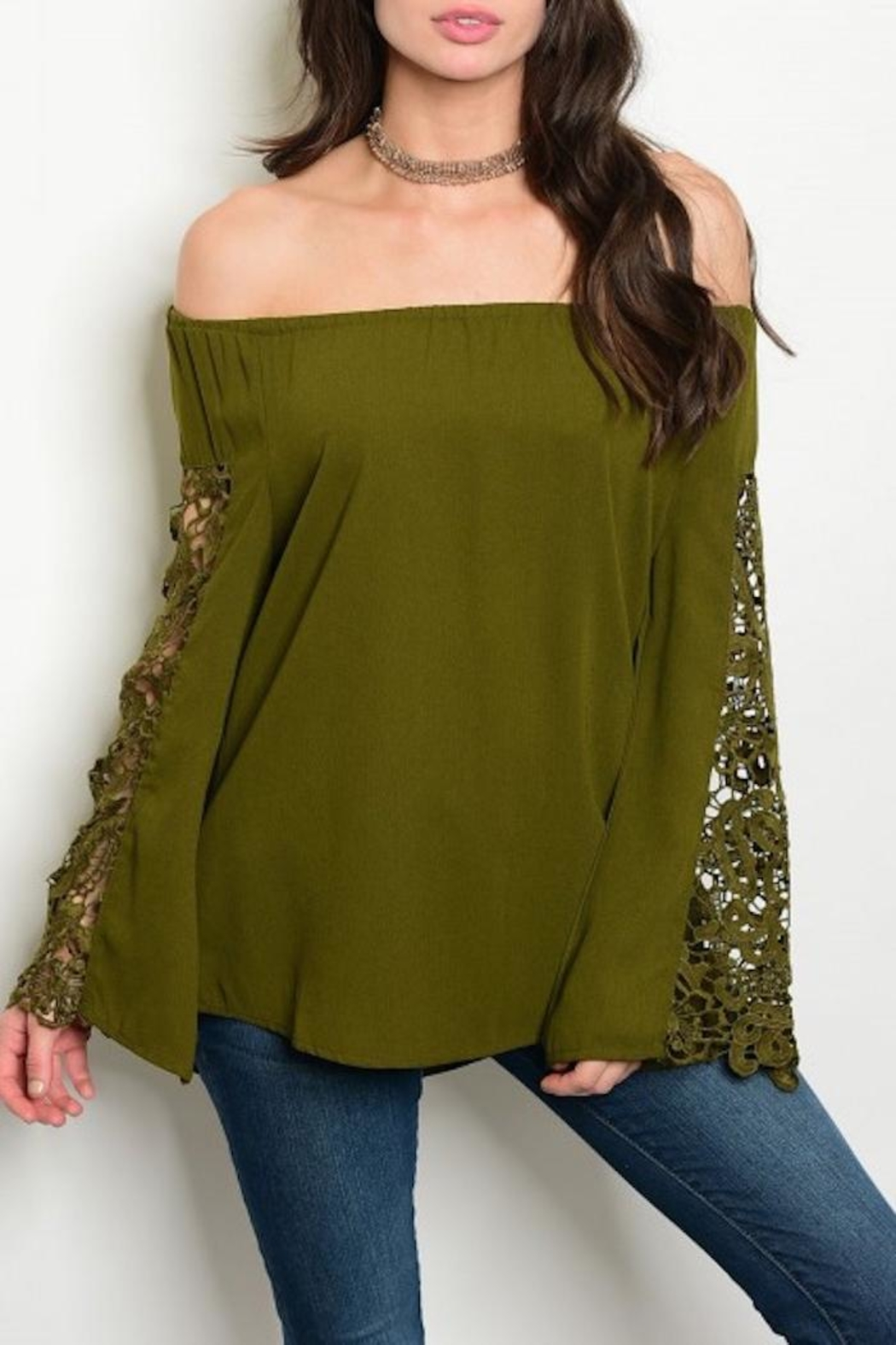 Available Olive Crochet Top - Main Image