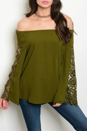 Available Olive Crochet Top - Front cropped