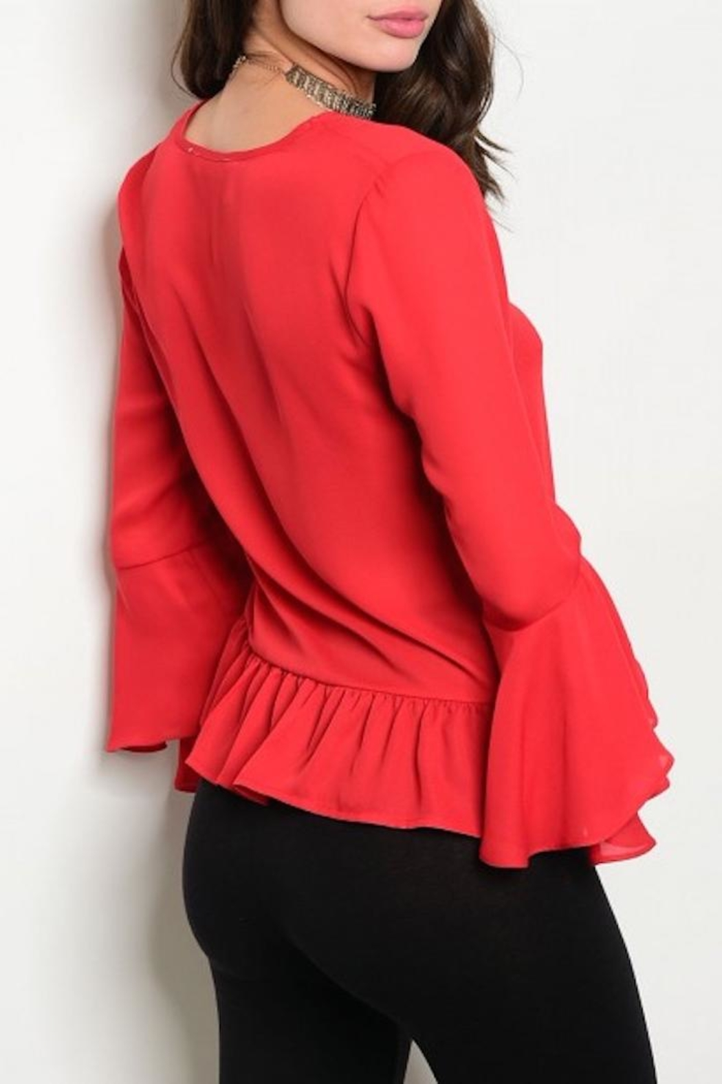 Available Red Ruffle Top - Front Full Image