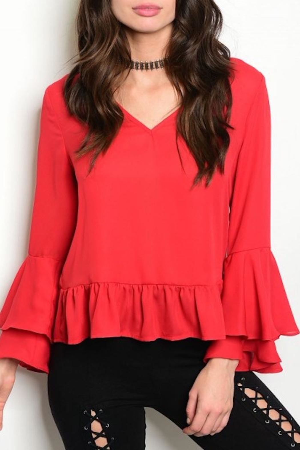 Available Red Ruffle Top - Main Image