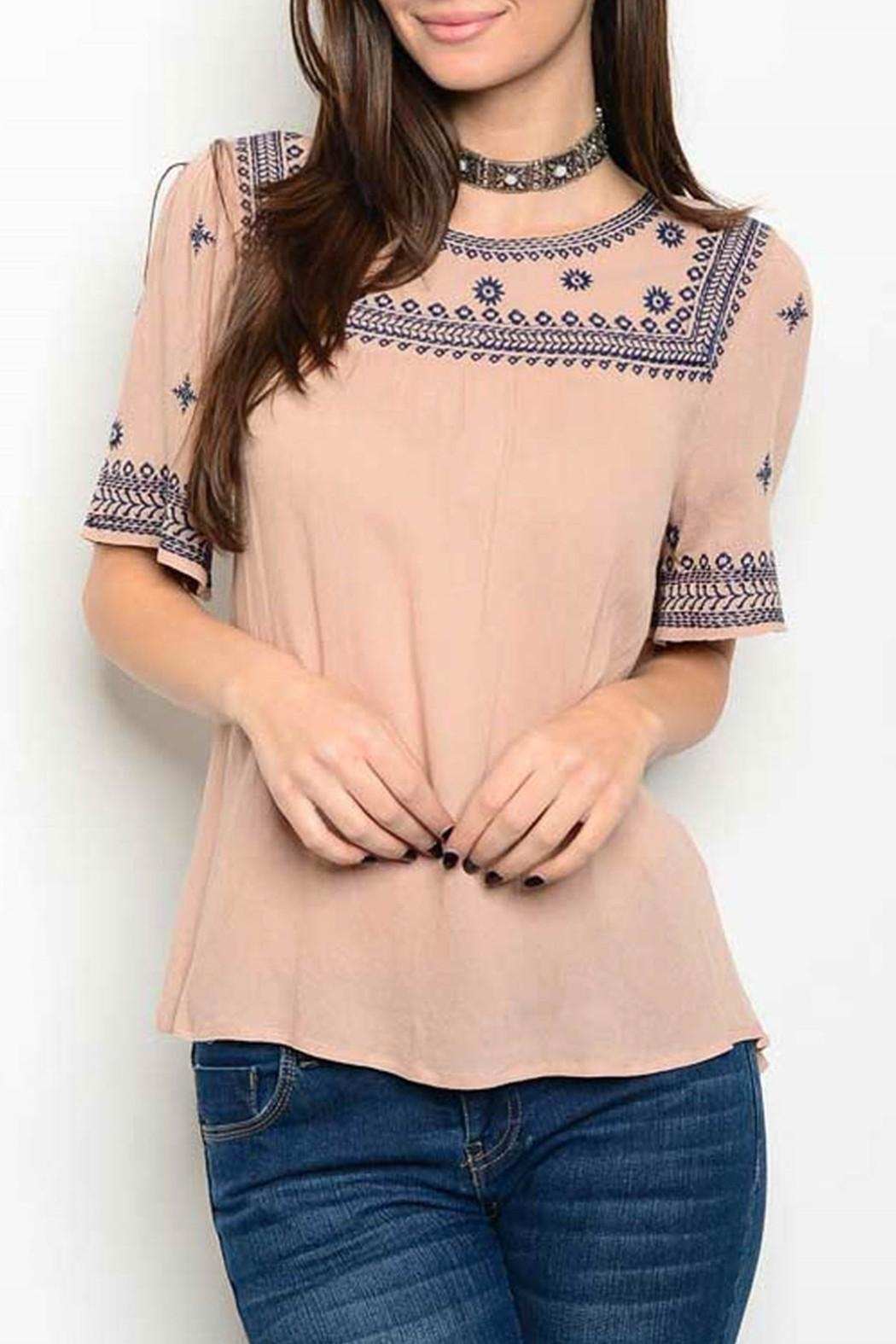 Available Taupe Embroider Top - Front Cropped Image