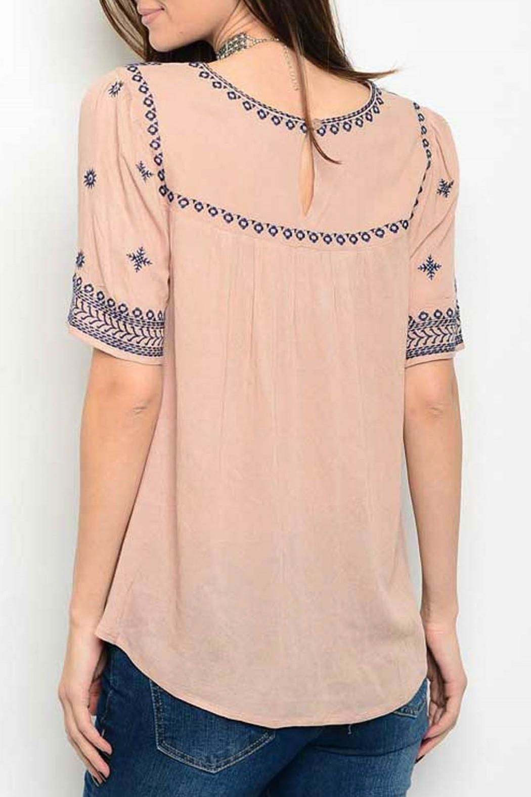 Available Taupe Embroider Top - Front Full Image