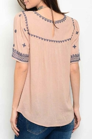 Available Taupe Embroider Top - Front full body
