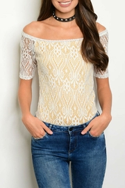 Available Yellow Lace Bodysuit - Front cropped